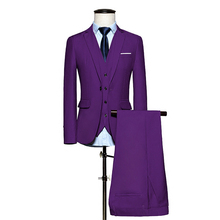 (Jacket + Pants + Vest) Nova Moda Formal Dos Homens Coloridos Formais Ternos Terno Masculino