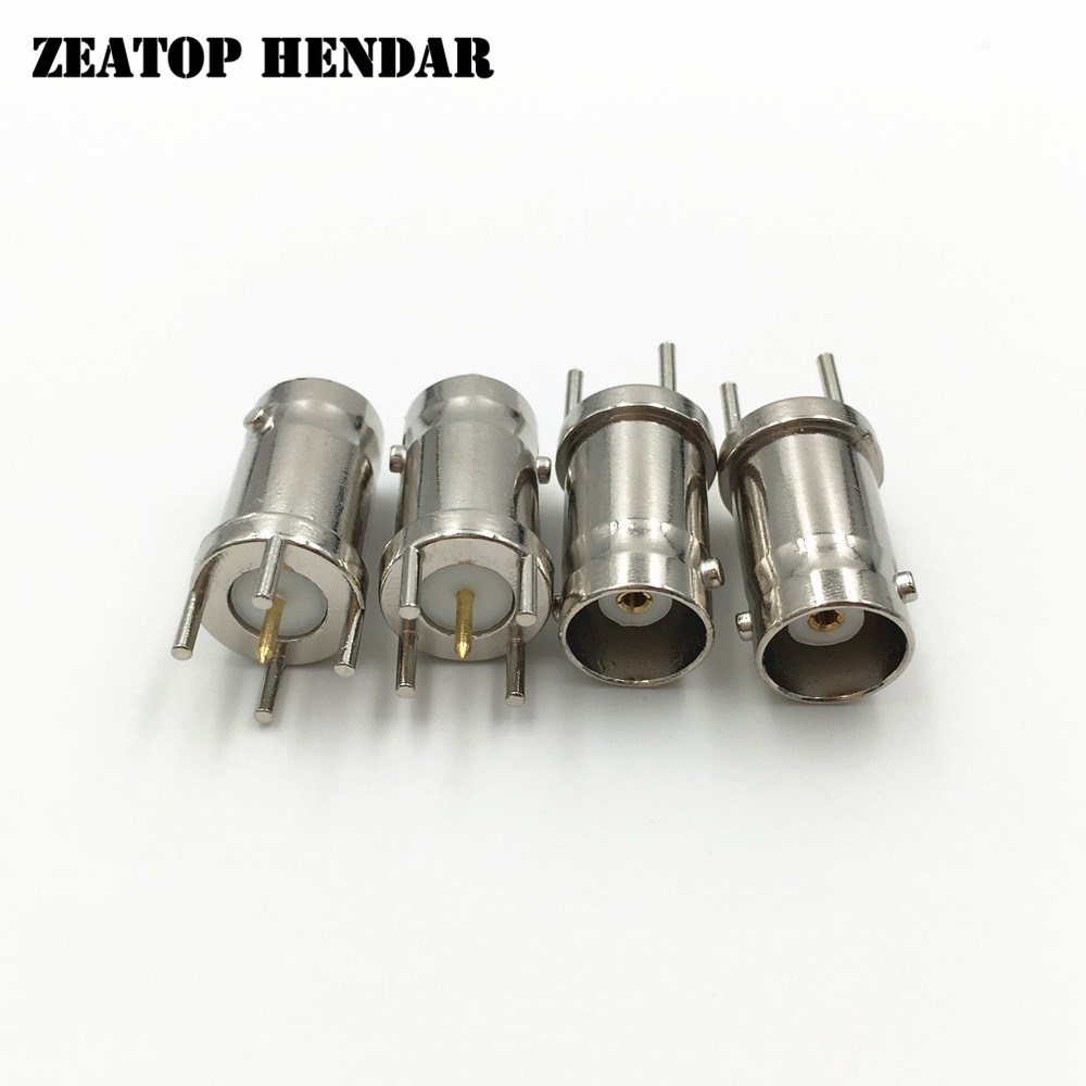 200Pcs Metal BNC Female 4 Pin JackVertical PCB Mount Thru Hole Straight Connector RF Coaxial Adapter