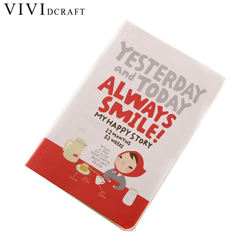 Vividcraft 1PC Kawaii Cartoon Notebook Red Hat Girl Agenda Week Plan Diary Day Planner Journal Record Stationery School Supplies 1pc kawaii and cute notebook paper lovely red hat girl agenda week day planner journal record stationery office school supplies
