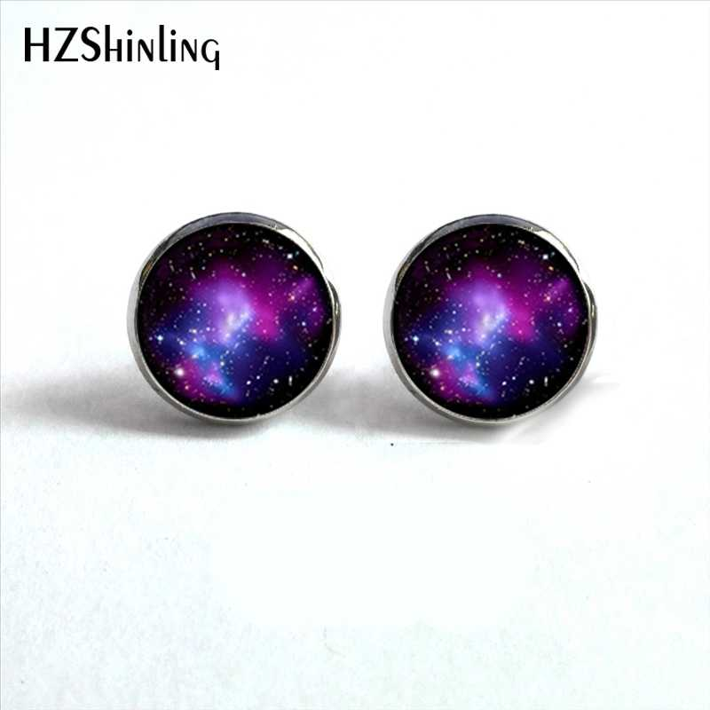NES-0090  Galaxy Nebula Stud Earrings Outer Space Ear Studs Astronomy Jewelry Nebula Glass Dome Earrings For Women HZ4