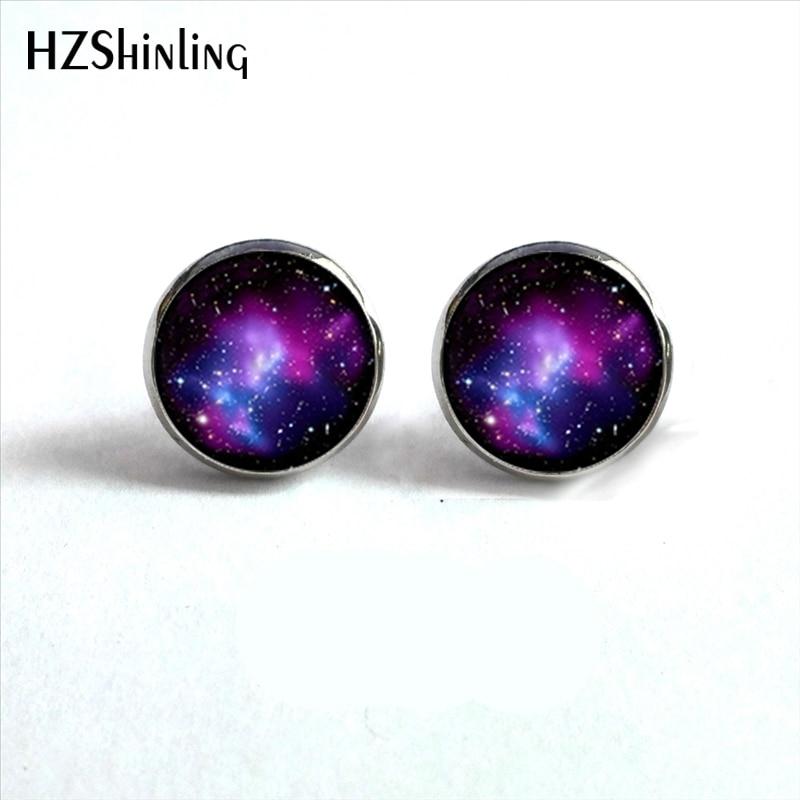 NES-0090  Galaxy Nebula Stud Earrings Outer Space Ear Studs Astronomy Jewelry Nebula Glass Dome Earrings For Women HZ4