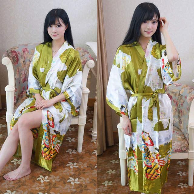 f2f2799315 placeholder Women Vintage Dress Japanese Traditional Costumes Lace-up Long  Satin Sleep Wear Bathing Robe Yukata