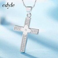 Cdyle Women Pendants Necklaces Fashion Elegant S925 Sterling Silver Jewelry Cross Shape Australian Rhinestone Paved Bijou