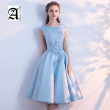 Banquet Evening Dresses 2019 New Blue Mid-long Student Birthday Party Appliques Flower Prom Dress