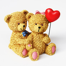 Painted Resin Crafts Teddy Bear Festive Gifts Home Decoration Accessories Birthday Couple Miniature Figurines