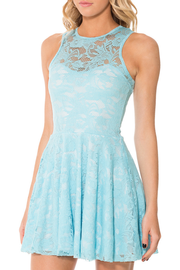 2015 Blue Lace Skater Dress Sleeveless Summer Dress For Women Lace Dress  Vestido De Renda Sexy Party Dresses-in Dresses from Women s Clothing on ... e804a8b7d1