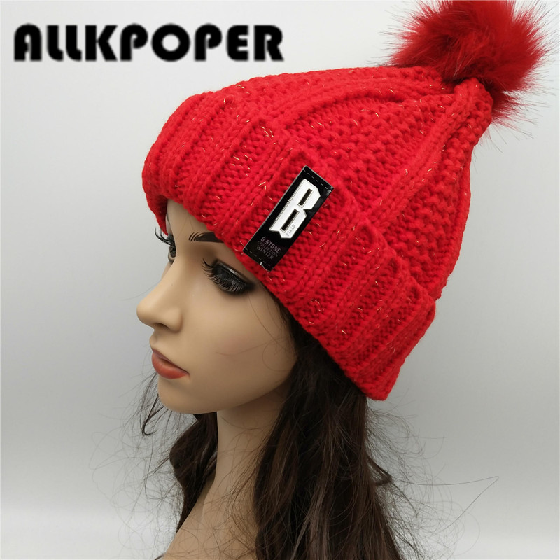 ALLKPOPER Letter Leather Brand Gorros Knitted Cap Baggy Beanie Winter Female Pompon Women Hat Skullies Autumn Bonnet Femme Cap winter women beanie curl all match crochet knitted hiphop hats warm ski hat baggy cap femme en laine homme gorros de lana 62
