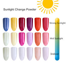 1Box Sunlight Change Glitter Powder 1g UV Light Photochromic Pigment Nail Glitter Dust Powder for Nail Art Decoration