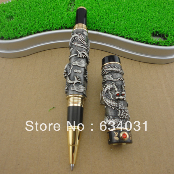 JINHAO GRAY roller ball pen BROAD NIB DRAGON PLAY THE PEARL dikawen 891 gray gold dragon clip 0 7mm nib office stationery metal roller ball pen pencil box cufflinks for mens luxury