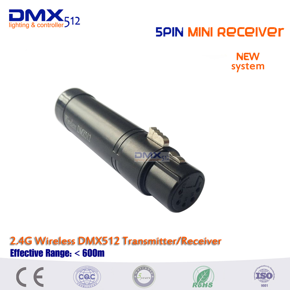 Free shipping HOT sale 5pin MINI Wireless DMX512 Receiver for stage lighting dhl free shipping 11pcs wireless dmx512 controller rechargeable receiver