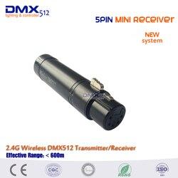 Frete grátis venda quente 5pin mini sem fio dmx512 receptor para iluminação de palco