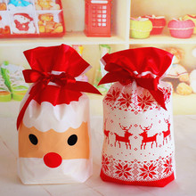 10 Pieces White Red Santa Claus Elk Candy Gift Bags