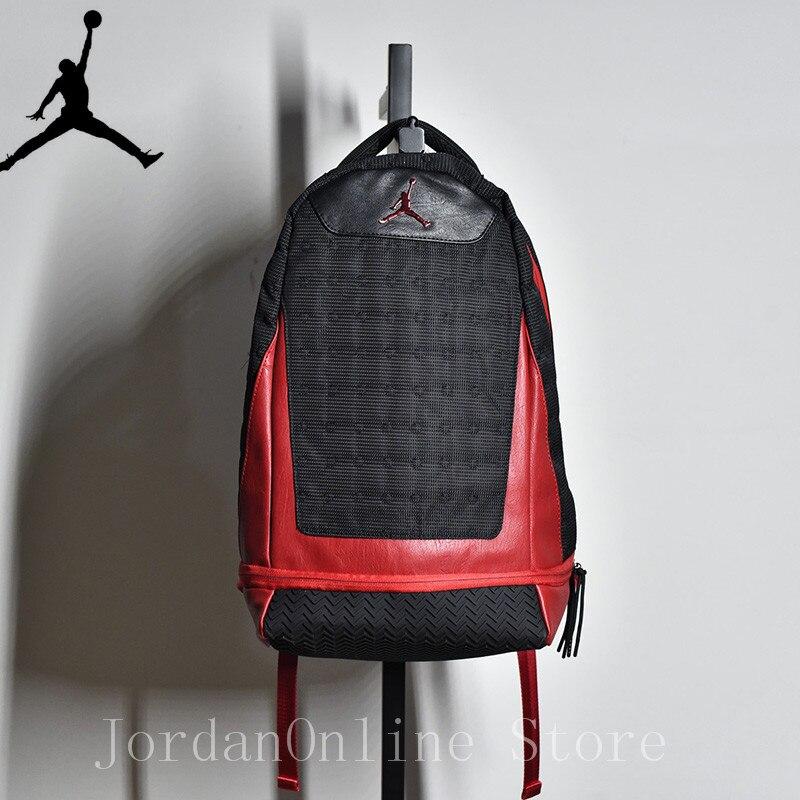 Jordan Retro AJ13 Sport Bags Men and Women Bookbag PU Leather Climbing  Laptop Bag Sport-Backpack Bag Black Color Good quality dc5f12827d4f7