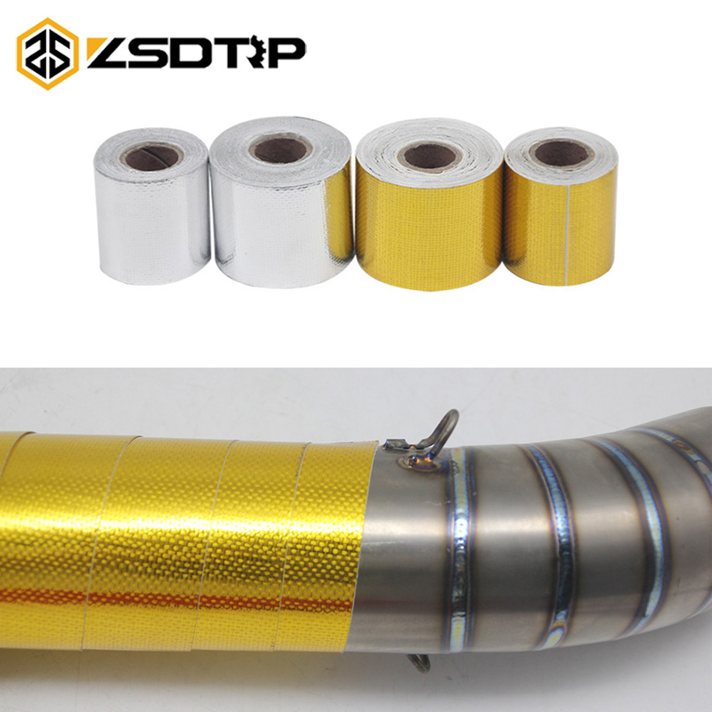 ZSDTRP ignifuge en fibre de verre ceinture Automobile moto Refit isolation thermique bande d'échappement bandeau thermique rouleau bouclier thermique robinet