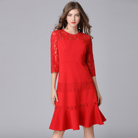 2018 Fashion Women Lace Patchwork Ruffles Dresses Plus Size Spring Summer O Neck Women Lace A