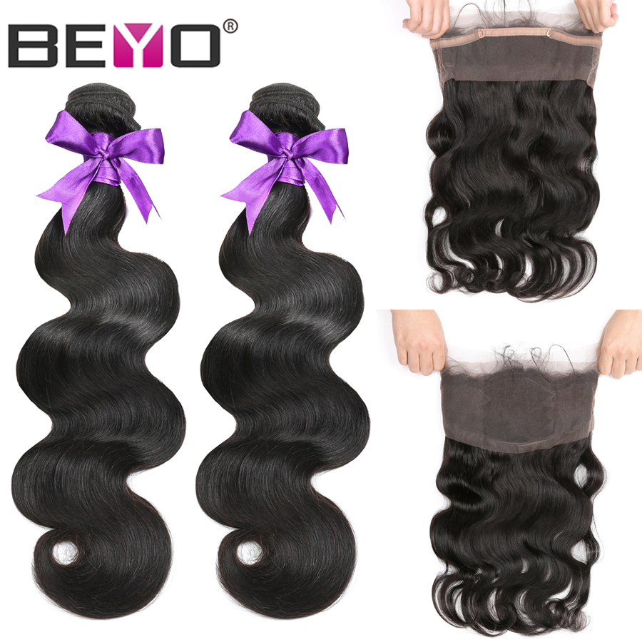 360 Lace Frontal With Brazilian Body Wave Bundles 3pcs/Lot Human Hair Bundles With Frontal Closure Non Remy Hair Extensions Beyo