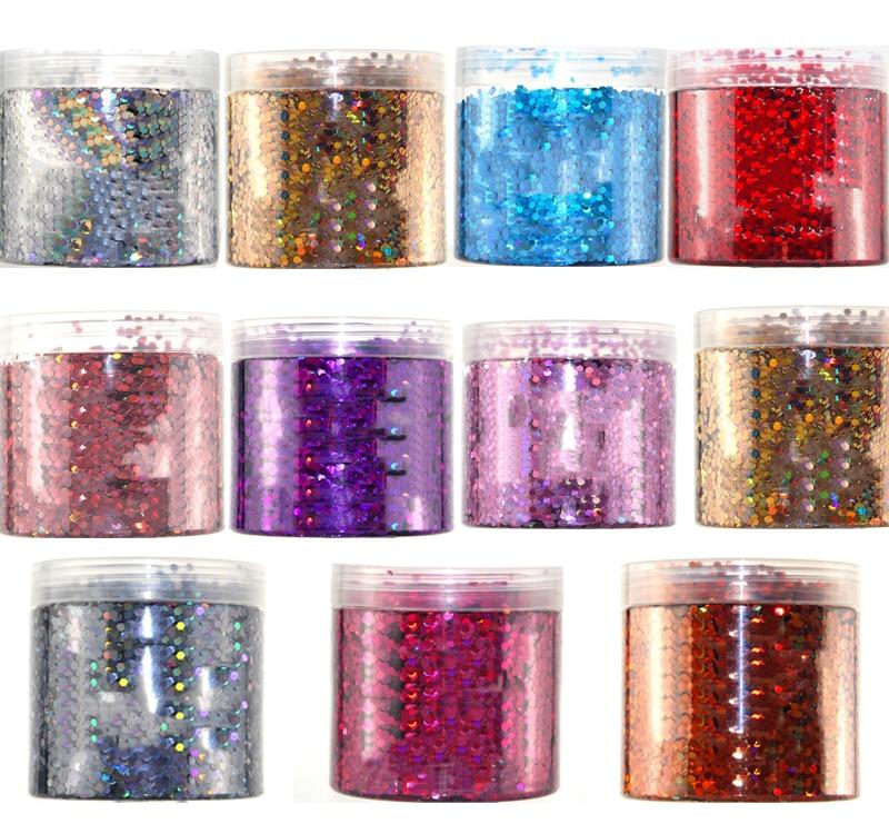 Hj6 0,125 Gastfreundlich 11 Laser Holographische Farben 3 Mm Spangles Glitter Holo Hex Glitter 50 Gr/beutel Schleim Glitter Für Nagel Glitter Dekoration