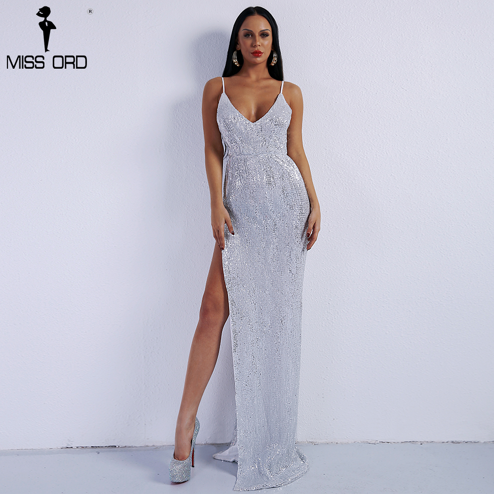 Missord 2018 Sexy Deep V Off Shoulder Sequin High Split Summer Dresses Backless Maxi Party Dress FT8400-2