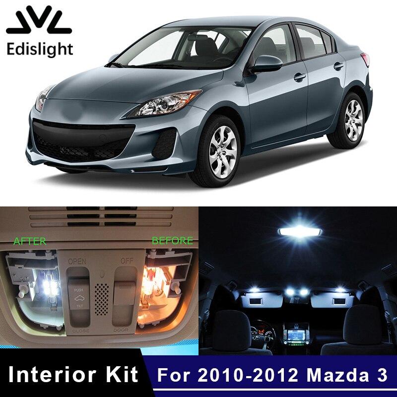 Edislight 9pcs White Ice Blue Led Lamp Car Bulbs Interior Package Kit For 2010 2012 Mazda 3 Map