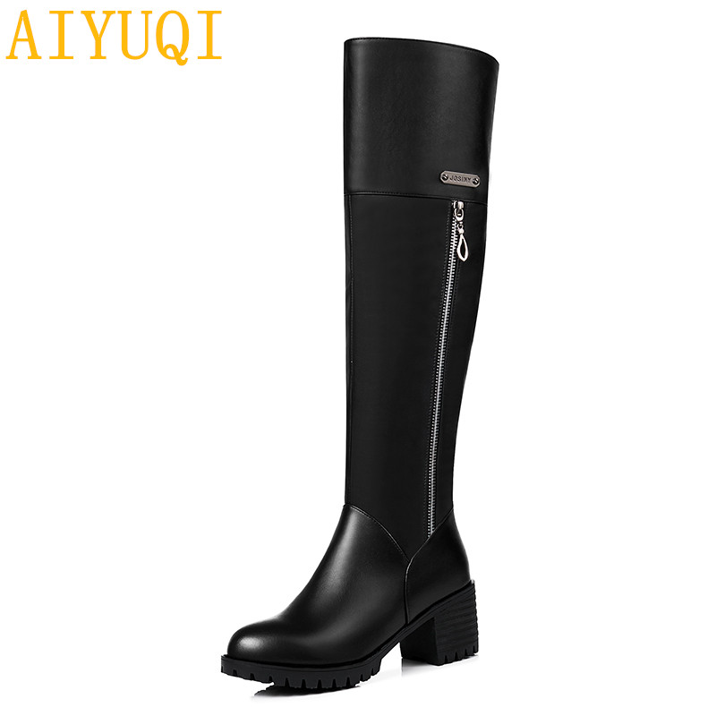 AIYUQI 2019new genuine leather women over knee boots heels dress shoes woman luxury crystal big size