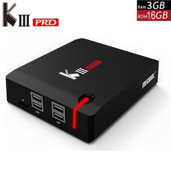 KIII PRO DVB-S2 DVB-T2 DVB-C декодер Кода Android 7,1 ТВ коробка 3 Гб оперативной памяти, 16 Гб встроенной памяти, K3 Pro Amlogic S912 Octa Core 64bit 4 K комбинированный набор компьютерной приставки к телевизору
