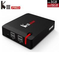 KIII PRO DVB S2 DVB T2 DVB C декодер Кода Android 7,1 ТВ коробка 3 Гб оперативной памяти, 16 Гб встроенной памяти, K3 Pro Amlogic S912 Octa Core 64bit 4 K комбинированный набор к
