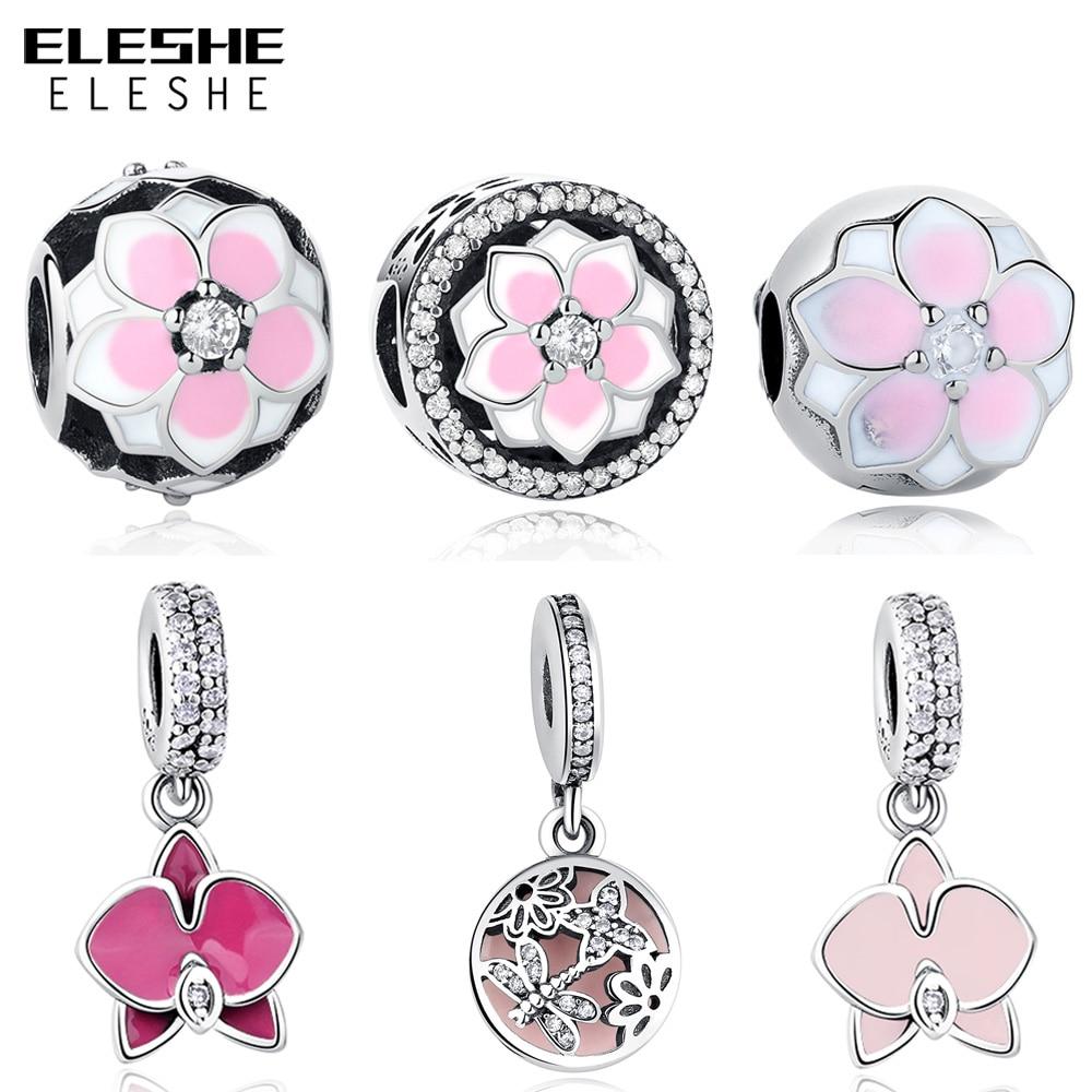 Fit Original Pandora Charm Bracelet Silver 925 DIY Berloque Enamel Orchid Daisy Flower Dragonfly Heart Bead for Jewelry Making
