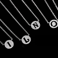 Full CZ Initial Letter Pendant Necklace 925 Sterling Silver A N 24 Alphabet Letter Necklace Tiny