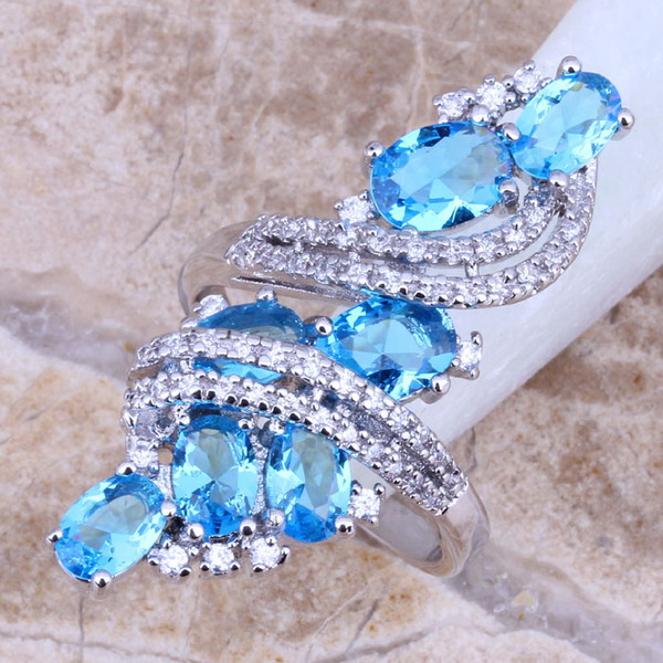 Sky Blue Cubic Zirconia White CZ 925 Sterling Silver Ring For Women Size 5 / 6 / 7 / 8 / 9 / 10 / 11 / 12 S0177