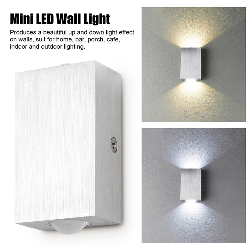 Modern Style Dual Head 2W LED Wall Light Indoor and Outdoor Decoration Aluminum Mini Wall Lamp AC 110V 220VModern Style Dual Head 2W LED Wall Light Indoor and Outdoor Decoration Aluminum Mini Wall Lamp AC 110V 220V