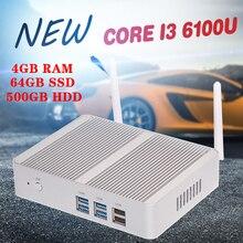 Бесплатная Доставка Intel Core i3 6Gen 6100U Skylake Mini PC Mini компьютер 4 К HTPC Intel HD Graphics 520 Игровой ПК Ультра Nettop USB3