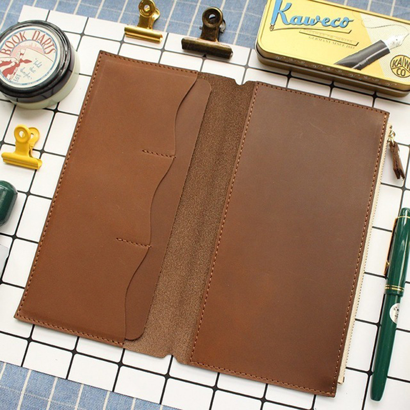 100% Genuine Leather Card File Holder With Storage Zipper Bag For Handmade Cow Leather Notebook Accessories Sketchbook Planner