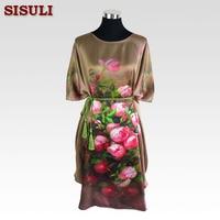 Silk Pajama Dress 100% Pure Silk Women Dresses Floral Printed Pattern Plus Size Organic Fabric Summer Dress 2016 Bronze