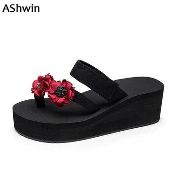 4f0b1eb1 Ashwin mujeres flip flops verano Tanga zapatillas wedge plataforma flores Zapatos  Sandalias casuales señora zapatos hechos a mano deslizador de la playa