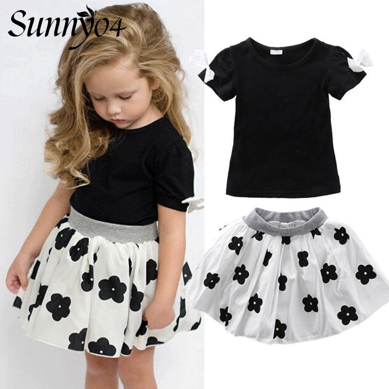 2017 Summer Style Girls Clothing Set Baby Girl Clothes Sets Cartoon Flower Children Kids Black T shirt + Skirt White Casual Suit humor bear baby girl clothes set new sequins letter long sleeve t shirt stars skirt 2pcs girl clothing sets kids clothes