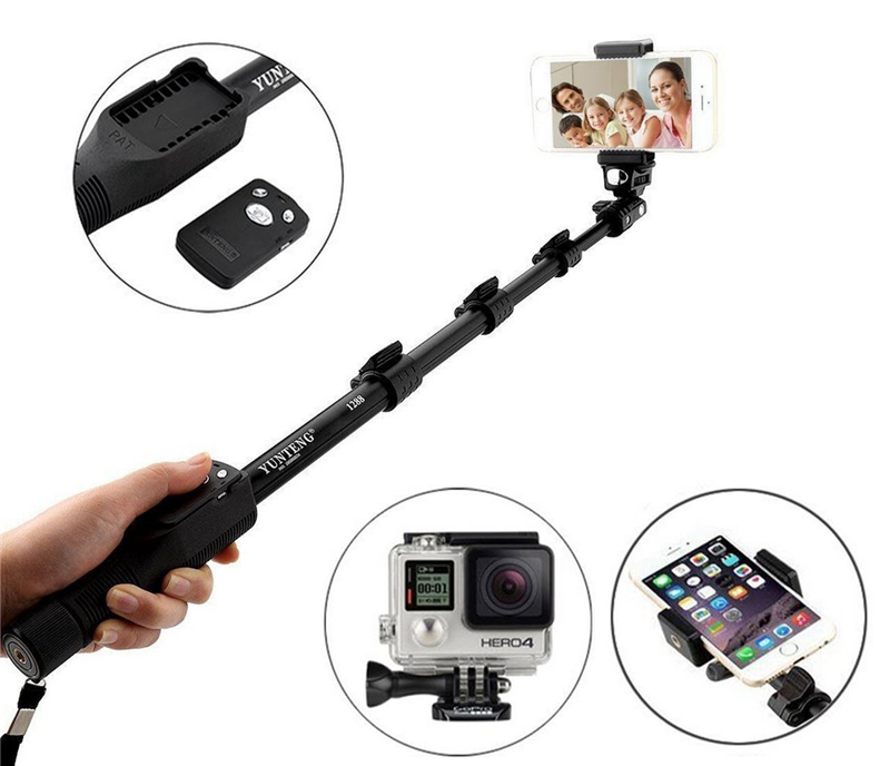 NMEGOU Extendable Yunteng 1288 Bluetooth Selfie Stick Monopod Tripod for Iphone 7 6 6s Plus Xiaomi Samsung Phone Camera Yt-1288 image