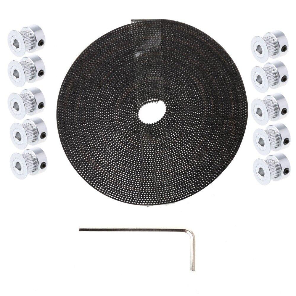 1 Set 3D Printer Parts With 10Pcs GT2 Pulley 20 Teeth 5mm Bore + 10M GT2 Belt For RepRap CNC for 3D Printer Accessories C26