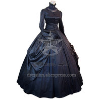 Victorian Gothic Lolita Brocade Black Dress Ball Gown Prom With Beautiful Lace Stand Collar And Glossy Surface Fast Fashion