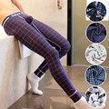 Nuevos Mens Del Algodón de Nylon Pantalones De Pijama Suave Sexy Masculino Puro Pijama Pantalones de Tela Escocesa de La Flor Sueño Del Salón Pantalones Azul Marino Blanco