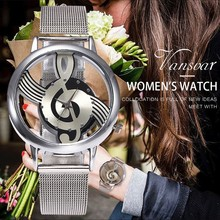 Vansvar Brand Men Women Silver Mesh Watches Fashion Hollow Music Note Notation Watch Stainless Steel Quartz Wristwatches Clock