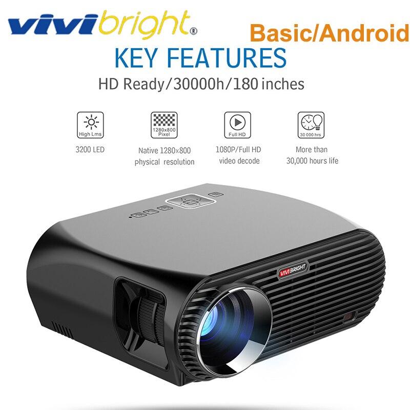 Original VIVIBRIGHT GP100 3200 Lumen Projektor 1GB + 8GB Amlogic S905X MSTAR V69 Android 6.0 1080P HD Projektor mit LCD Lautsprecher