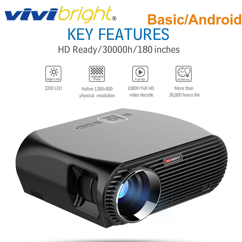 Projecteur Original VIVIBRIGHT GP100 3200 Lumens 1GB + 8GB Amlogic S905X MSTAR V69 Android 6.0 1080P projecteur HD avec haut-parleur LCD
