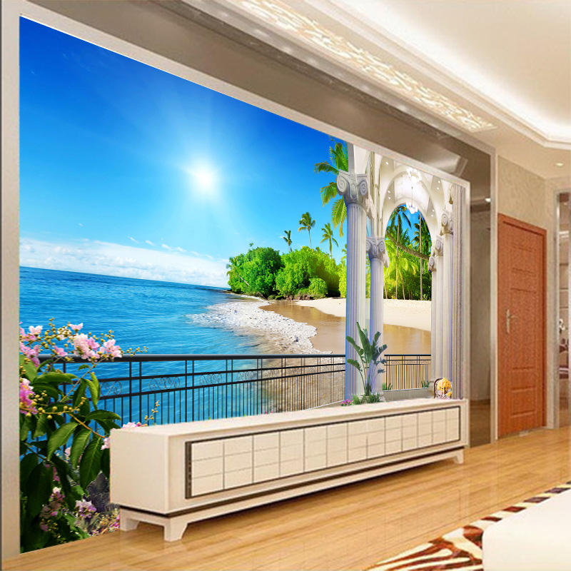 Summer beach landscape tv background wall photo wallpapers for Scenery wallpaper for bedroom