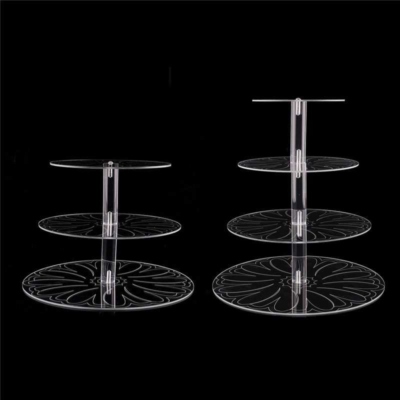Acrylic round pan pattern 3 4 tier wedding cupcake cake stand set display rack stands for birthday party cakes decor stand
