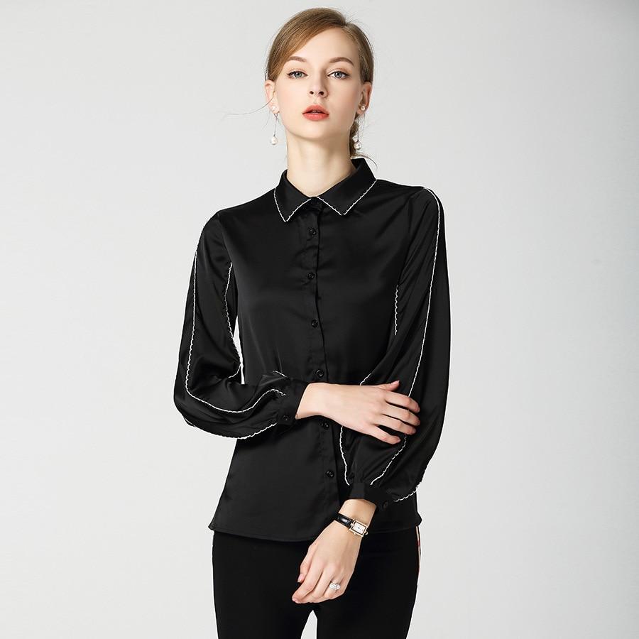 Nouveau 2018 aurumn revers manches bouffantes chemises noires femmes Chic à manches longues lâche Blouses hauts D344 - 3
