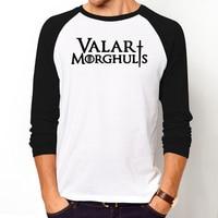 Hip Hop Men Tee Shirt THE Game Of Thrones Valar Morghulis T Shirts Casual Long Sleeves