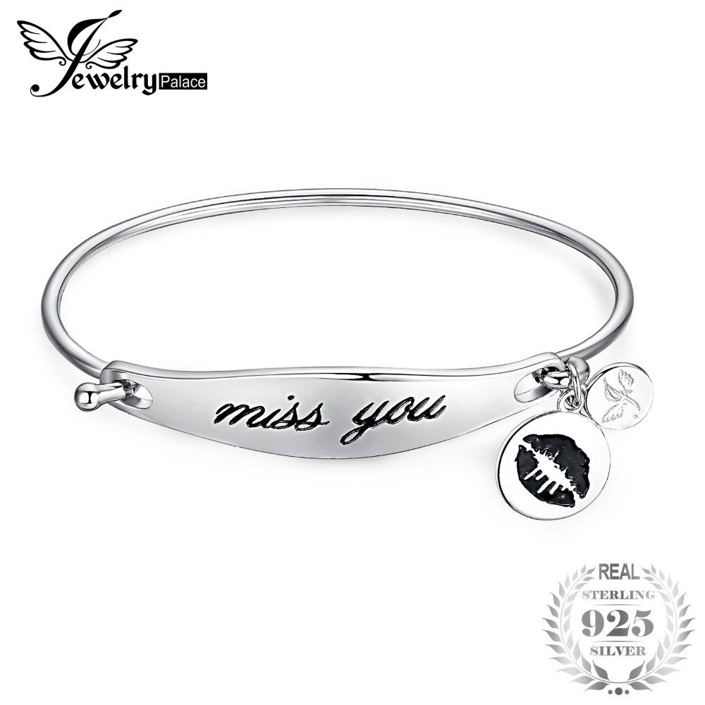 65fb430b72e5 JewerlyPalace Personalized Hand Stamped Miss You Dangle Lip Kiss 925 Sterling  Silver ID Bangle Bracelet Beautiful Gifts-in Bracelets   Bangles from  Jewelry ...