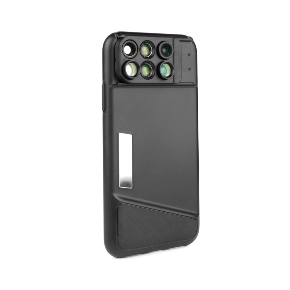 Für iPhone X Tragbare handy objektiv 6 in1 Dual-kamera objektiv Fisheye Weitwinkelmakroobjektiv Teleskop Objektiv Für iPhone X