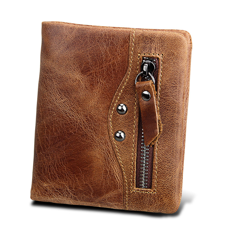 FSINNLV Genuine Leather Vintage Men Small Wallet RFID Men Clutch High Quality Business Male Wallet Coin Purse Card Holder HB59