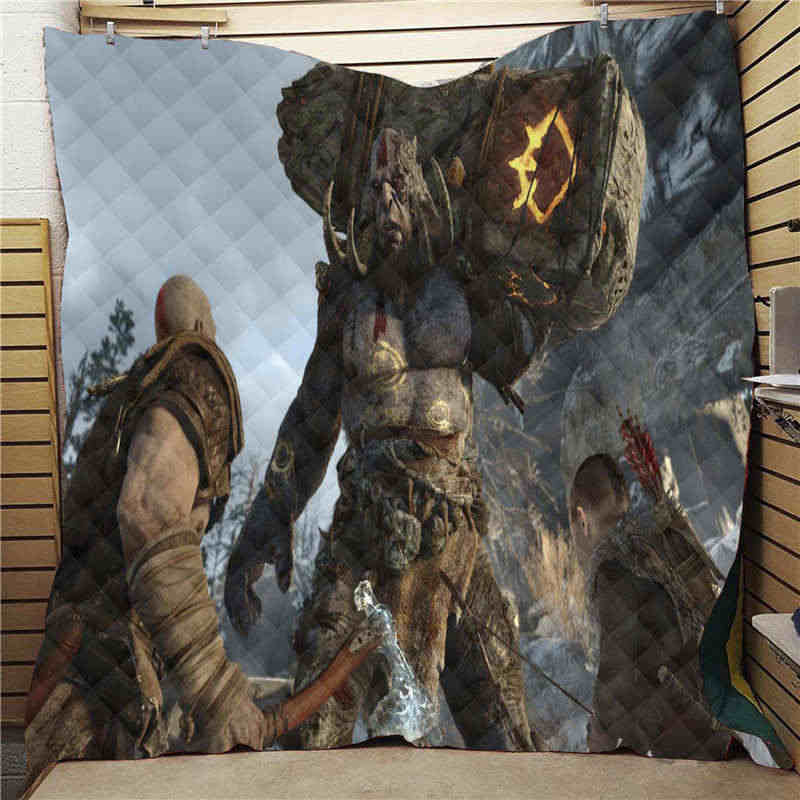 Summer God Of War Print Quilt For Kids Adults Bed Soft Warm Thin Blanket Cotton Casual Quilt King Size Wholesale Custom Pattern